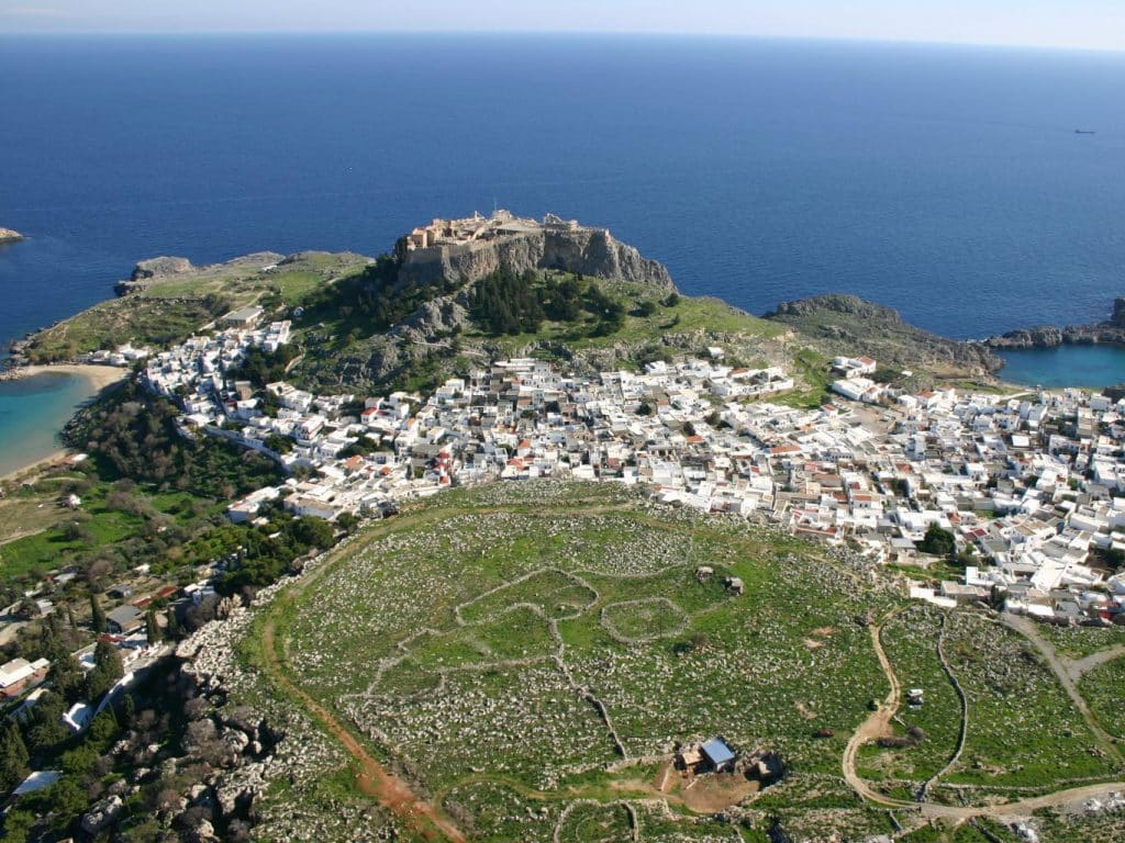 Blick über Lindos auf der Insel Rhodos